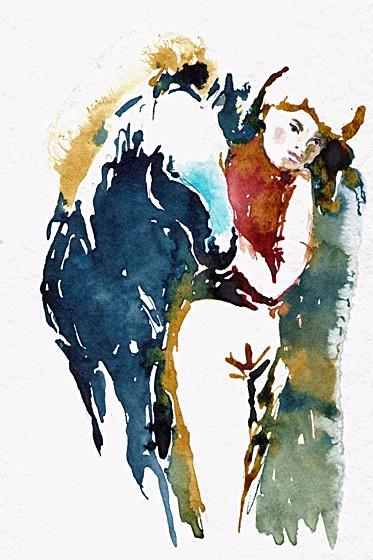 Mädchen und blaues Pferd