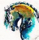Pferdekopf blau