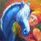 Mädchen mit blauem Pferd022009