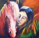 Indianerin mit Pferd